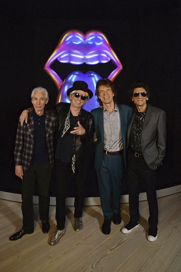 rolling stones in front of exhibit